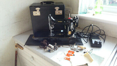 Cased Singer 221K - 1952  ~Featherweight Sewing Machine Accessories & booklets