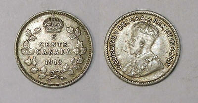 1913 Canada Sterling Silver 5 Cents Vf/xf Inv#349-26