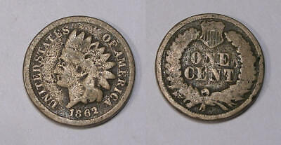 1862 Copper Nickel Indian Cent Inv#349-5