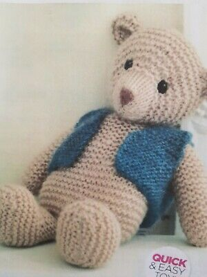 PATCHWORK JOINTED TEDDY bear dk toy knitting pattern 99p - £1 75