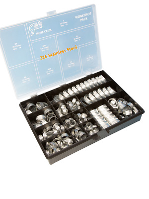 Jubilee Clips 143 Piece A4 316 Stainless Steel Marine Grade Workshop Clamp Box