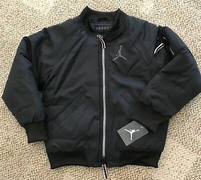 Boys Sz 7 Nike Air Jordan Sportswear Wings MA-1 Bomber Jacket Coat Black  854369 eb8911031