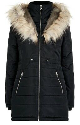 WAS £60 New Look Black Padded Parka Jacket School Coat Faux Fur Hooded SIZE 6