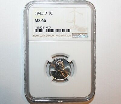 1943-D Denver Lincoln Cent Steel World War II Penny-Coin Graded by NGC as MS 66