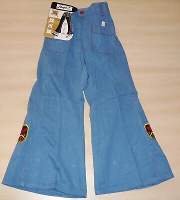 VINTAGE 1970's UNWORN NAYYTEX BLUE & RED FLARED APPLIQUE JEANS AGE 6-7 YEARS