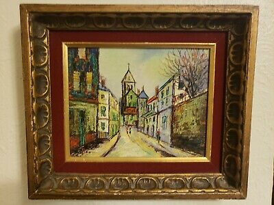 Oil on Board REAL Mid-century Street Scene REAL Painting Wood Gold Frame SIGNED
