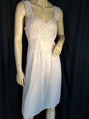 Vintage sheeer Lace negligee Chemise pinup Pink sissy M nightgown Lace ❤️ sexy