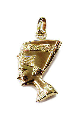 9K Yellow Gold Egyptian Queen Nefertiti Charm Necklace Pendant ~ 1.9g