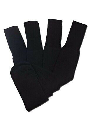 4 Pairs Mens Black Tube Socks Big and Tall Extra Long Thick Cotton - 26 Inches