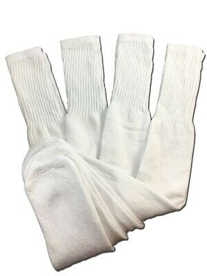 4 Pairs Mens White Tube Socks Big and Tall Extra Long Thick Cotton - 24 Inches