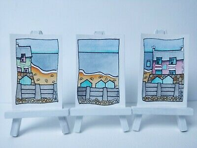 3 Original Watercolour Paintings ACEO - Too Early For The Beach