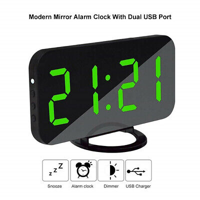LED Digit Table Wall Clock USB 3D Display Alarm Clock Brightness Dimmer New
