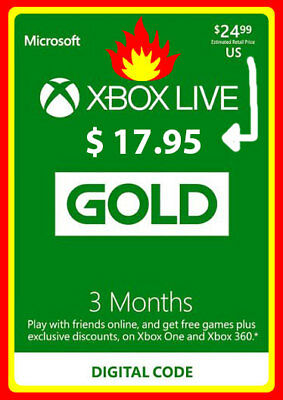 3 Month Xbox Live Gold Membership Code - Xbox 360/XONE Original Digital Key Fast