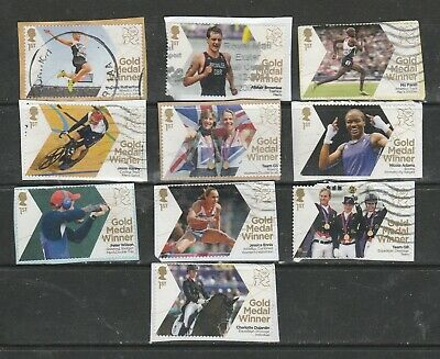 2012 10 Olympic Gold Medal Winners Stamps Used.