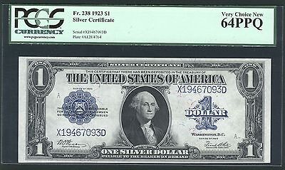 1923 $1 Silver Certificate Large Size Banknote Fr-238, Certified Pcgs-Cu64-Ppq