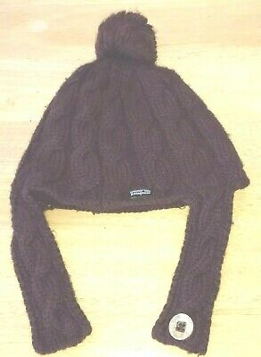 0ee8b02a91d Patagonia Hat Women s Winter Fisherman Brown Cable Knit Fleece Pom Beanie  Button