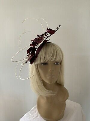bca19fb48819b New Design Burgundy Orchid Fascinator On H band Mother Of Bride Groom Races