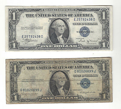1935 B & 1935 H $1 United States Silver Certificate Pair