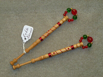 Lacemaking Lace Bobbins Pair Roble Blanco Wood