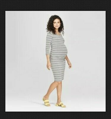 87416626e3eae Isabel Maternity Striped 3/4 Sleeve Shirred T-Shirt Dress - Gray XS-