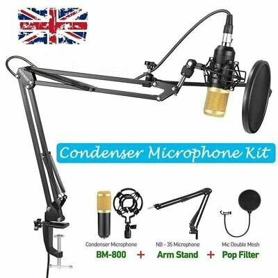 BM-800 Condenser Microphone Arm Stand Pop Filter Kit For Studio Sound Recording