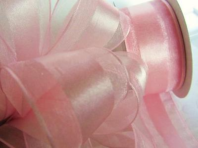 "25 yards Spool Satin/Organza Edge 1.5"" Wide Ribbon/Roll/Baby/Light R22-Pink-15"