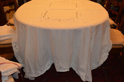 """Vintage Ivory Tablecloth Cut Out Work 68 X 86"""" Lovely"""