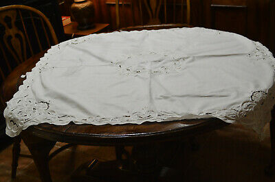 """Vintage White Tablecloth 40 X 41 1/2"""" Cut Out Work Lovely"""