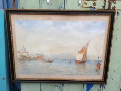 Vintage Watercolour Painting Italian Med Seascape Early 20th Century Rustic CHIC