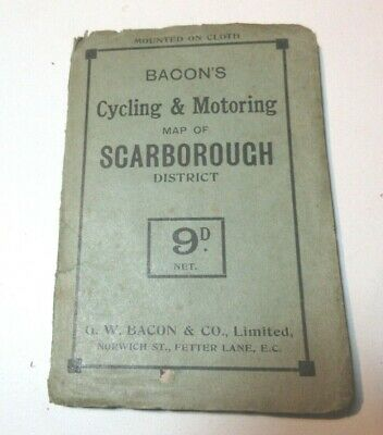 Bacons  Cycling And Motoring Cloth Map Of Scarborough District