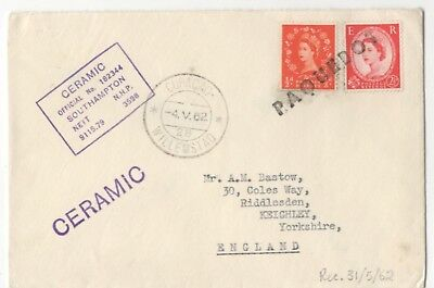 Curacao Willemstad Paquebot Postmark 4 May 1962 Cover Steamer Ceramic 969b