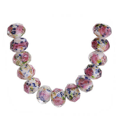 10pcs Charms 12mm Faceted Rose Flower Crystal Glass DIY Loose Beads Findings New