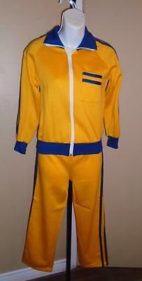 VTG Youth 1970s Yellow w/ Blue Stripes 2 pc Sweat Suit WarmUp Tracksuit SZ M NOS