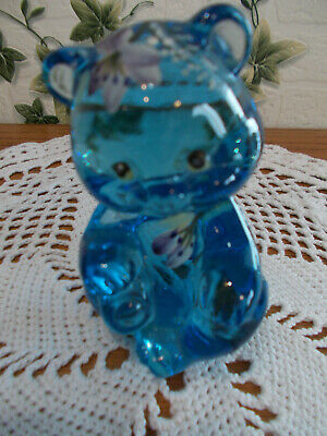 Fenton Hand Painted Bell Flowers On Ice Blue Bear Cub Figurine ~No Reserve~