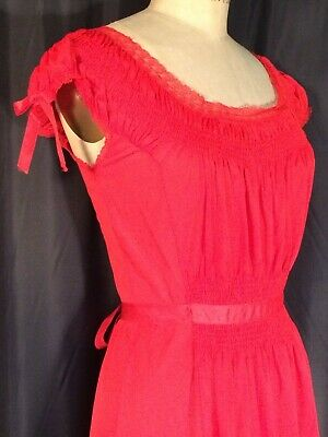 Artemis rouched Red vintage Negligee nightgown S pinup ❤️ Ribbon lace Sissy 32