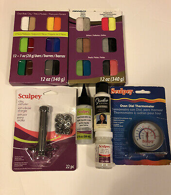 Clay Premo Sculpey 2-12 Oz. 1 Bake Medium 1 Gloss 1 Style Tool Set READ BELOW