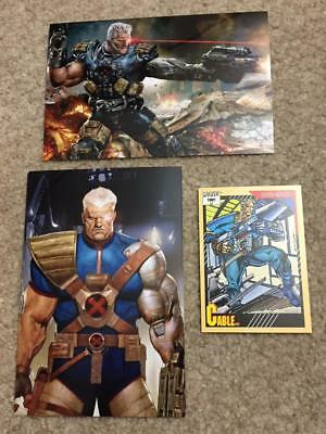 ~ CABLE ~ 1991 Marvel trading card #15 and (TWO) 4x6 glossy Photo Art Prints LOT