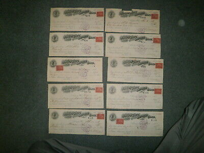 Adrian State Savings Bank 1898 Bank Check Collectionw/revenue Stamp, Lot Of 10