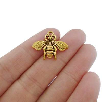 20 x Antique Gold Tone Bumble Bee Honeybee Charms Pendants Beads 22x19mm