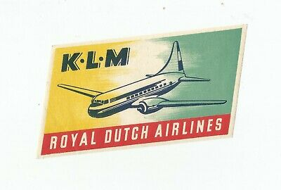 Vintage Airline Luggage Decal:  Klm Royal Dutch Airlines