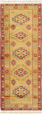 """Hand-knotted Turkish Carpet 2'6"""" x 6'8"""" Melis Vintage Traditional Wool Rug"""