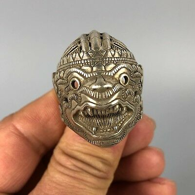 Chinese Collectible Antique Old Tibet Silver Handwork No.13 amulet male  Ring