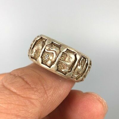Antique chinese Rare Collectible Tibet Silver Handwork 12 Zodiac No.10 Ring