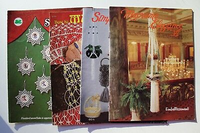 Macrame Planters Ornaments Wall Hangings Jewelry Patterns Books Lot of 4