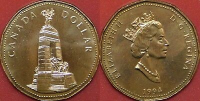 Brilliant Uncirculated 1994 Canada Cenotaph 1 Dollar From Mint's Roll