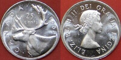 Brilliant Uncirculated 1962 Canada Silver 25 Cents From Mint's Roll
