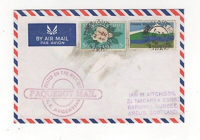 Trinidad Paquebot Postmark 12 Apr 1969 Cover SS Argentina Posted High Seas 992b
