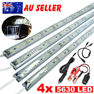 4X12V Waterproof Cool White 5630 Led Strip Lights Bars Camping Boat Car Kit