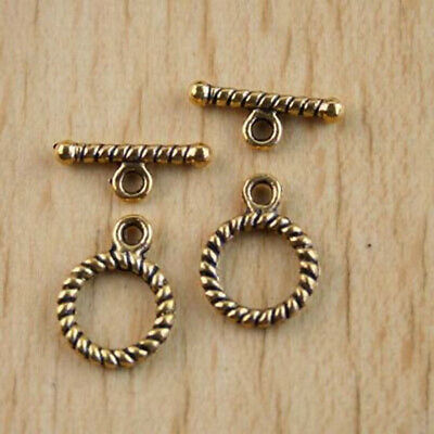10sets dark gold-tone round toggle clasps h2872