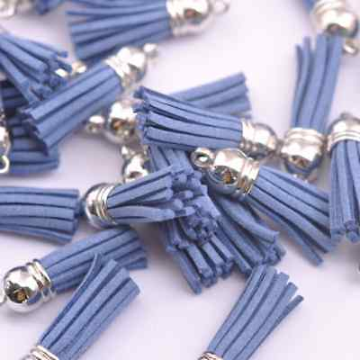 10pcs Light Blue Silver-Tone-Metal-Top-Tassels-Terylene-Velvet-Pendant-for-jewer